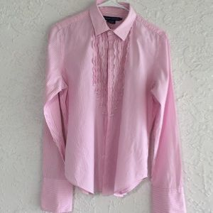 Pink/white Ralph Lauren striped blouse, 14